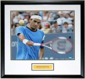Roger Federer Signed 16x20 Photo - Steiner Sports COA Authenticated - Professionally Framed & Plate