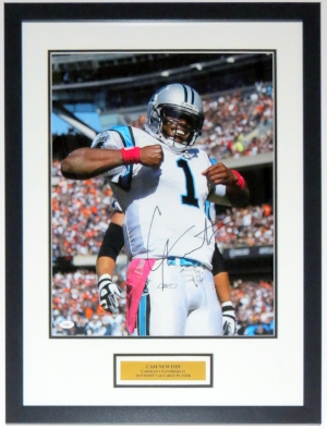 Cam Newton Signed Panthers 16x20 Photo - JSA COA Authenticated - Professionally Framed & Plate