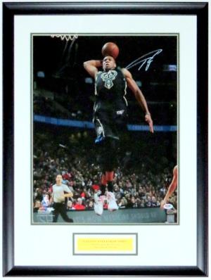 Giannis Antetokounmpo Signed Milwaukee Bucks 16x20 Photo - PSA DNA COA Authenticated - Professionally Framed & Greek Freak Plate