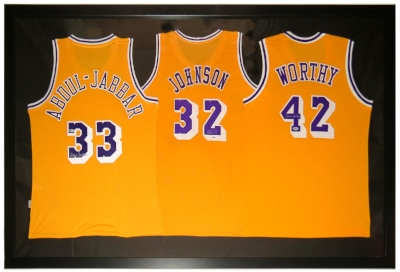 Kareem Abdual Jabbar Magic Johnson James Worth Autographed Los Angeles Lakers Jersey Compilation - PSA & Beckett Authenticated - Professionally Framed 76x40