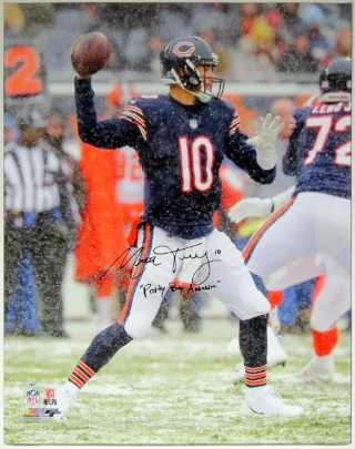Mitchell Trubisky Signed Chicago Bears 30x40 Photo Canvas & Pretty Boy Assassin Inscription - Fanatics COA Authenticated
