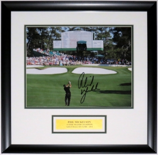 Phil Mickelson Signed Masters 11x14 Photo - JSA COA Authenticated - Professionally Framed & Plate