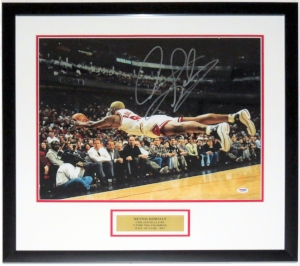 Dennis Rodman Signed Chicago Bulls 16x20 Photo - PSA DNA COA Authenticated - Professionally Framed & Plate