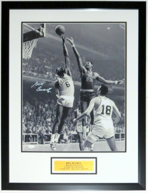 Bill Russell with Wilt Chamberlain Signed Boston Celtics 16x20 Photo - JSA COA Authenticated - Professionally Framed & Plate