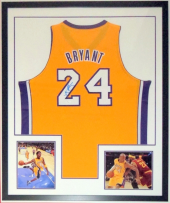 Kobe Bryant Signed Los Angeles Lakers Jersey - JSA COA Authenticated - Professionally Framed & 2 8x10 Photo 34x42