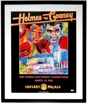 Larry Holmes and LeRoy Neiman Dual Signed 20x30 Fight Poster - PSA DNA COA Authenticated - Professionally Framed