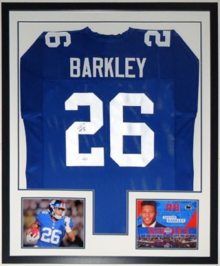 Saquon Barkley Signed New York Giants - JSA COA Authenticated - Professionally Framed & 2 Rookie Year 8x10 Photo 34x42