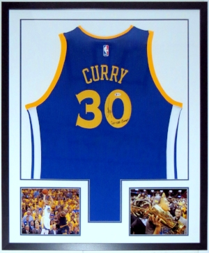 Stephen Curry Signed Golden State Warriors Jersey with 2017 NBA Champs Inscription - Beckett Authentication Services COA - Professionally Framed & 2 NBA Finals 8x10 Photo 34x42