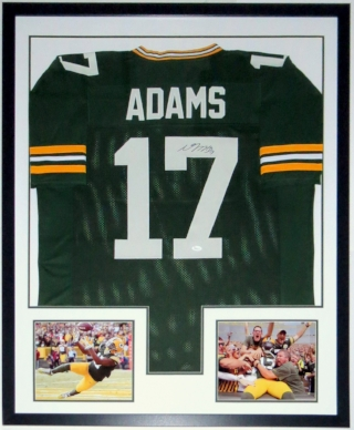 Davante Adams Signed Green Bay Packers Jersey - JSA COA Authenticated - Custom Framed & 2 8x10 Photo 34x42