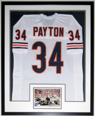 Walter Payton Signed Chicago Bears 8x10 Photo & Jersey Compilation - JSA COA Authenticated - Professionally Framed 34x42