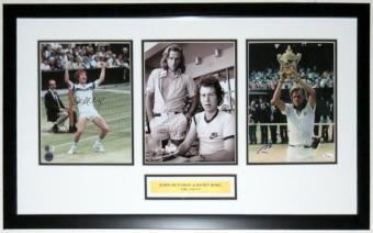 John McEnroe & Bjorn Borg Signed 3 8x10 Photo Compilation - JSA COA Authenticated - Professionally Framed & Plate 34x14