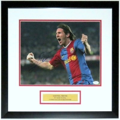 Lionel Messi Signed Barcelona 11x14 Photo with 5-Time Player of The Year Winner Plate - JSA COA Authenticated - Professionally Framed