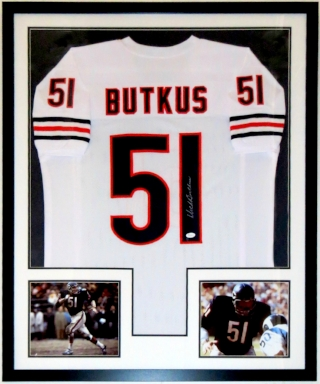 Dick Butkus Signed Chicago Bears Jersey - JSA COA Authenticated - Professionally Framed & 2 8x10 Photo 34x42
