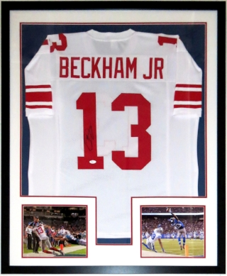 Odell Beckham Jr Signed New York Giants Jersey - JSA COA Authenticated - Professionally Framed & The Catch 8x10 Photo 34x42