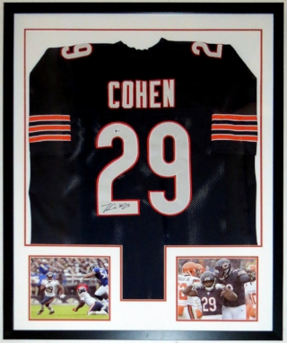 Tarik Cohen Autographed Chicago Bears Jersey - Beckett Authentication Services COA Authenticated - Professionally Framed & 2 8x10 Photo 34x42
