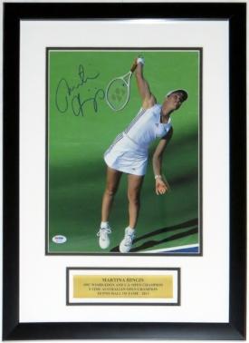 Martina Hingis Signed Wimbledon 11x14 Photo - PSA DNA COA Authenticated - Custom Framed & Plate