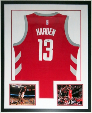 James Harden Signed Nike Houston Rockets Jersey - JSA COA Authenticated - Professionally Framed & 2 8x10 Photo 34x42