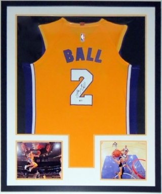 Lonzo Ball Signed Nike Los Angeles Lakers Jersey - Beckett Authentication Services BAS COA Authenticated - Professionally Framed & 2 8x10 Photo 34x42