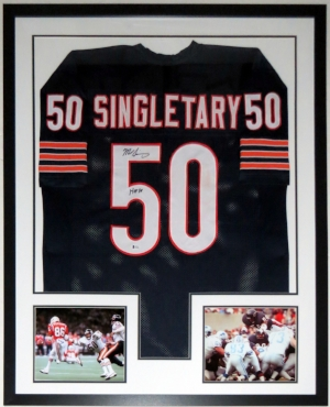 Mike Singletary Signed Chicago Bears Jersey with HOF Inscription - Beckett Authentication Services BAS COA - Professionally Framed & 2 8x10 Photo 34x42