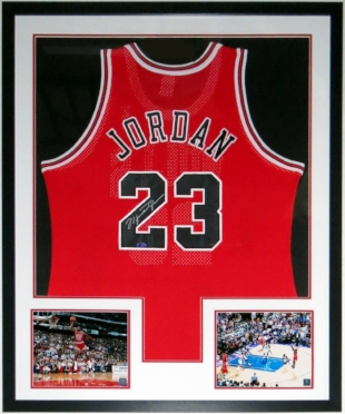 Michael Jordan Signed Nike Chicago Bulls Jersey -UDA COA Upper Deck Authenticated - Professionally Framed & 2 8x10 Photo