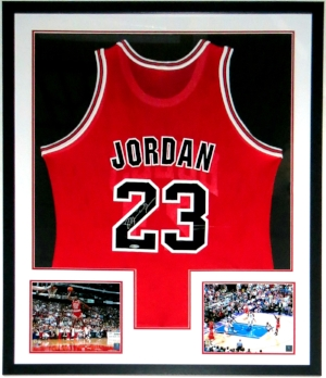 Michael Jordan Autographed Champion Chicago Bulls Jersey -UDA COA Upper Deck Authenticated - Professionally Framed & 2 8x10 Photo