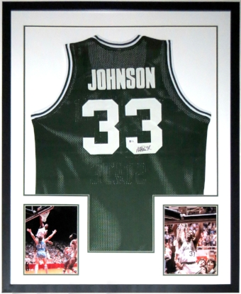Magic Johnson Signed Spartans Jersey - Beckett Authentication Services COA - Professionally Framed with 2 8x10 Photo 34x42