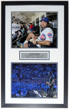 Eddie Vedder Chicago Cubs Pearl Jam Wrigley Field Dual 11x14 Photo Compilation - Custom Framed & Plate