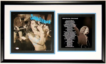 Chris Cornell Autographed Soundgarden Screaming Life Album - JSA COA Authenticated - Professionally Framed & Black Hole Sun Lyrics Photo 30x18