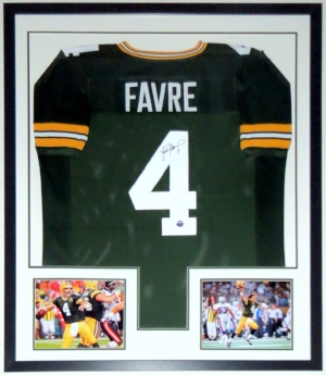 Brett Favre Signed Green Bay Packers Jersey - Favre COA Authenticated - Custom Framed & Super Bowl 8x10 Photo 34x42