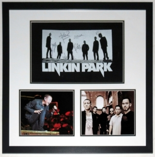 Linkin Park Group Signed Tour Shirt & Chester Bennington & Concert 8x10 Photo - JSA COA Authenticated - Professionally Framed 32x26