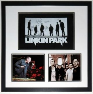 Linkin Park Group Signed Tour Shirt & Chester Bennington & Concert 8x10 Photo - JSA COA Authenticated - Professionally Framed 32x26