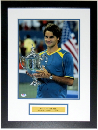 Roger Federer Signed 11x14 Photo - PSA DNA COA Authenticated - Professionally Framed & Plate