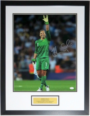Hope Solo Signed Team USA 16x20 Photo - JSA COA Authenticated - Custom Framed and Plate