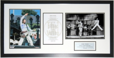 Pete Townshend Signed The Who 11x14 Tour Photo and Lyrics Compilation - BAS Beckett Authentication Services COA - Professionally Framed & Plate 34x20