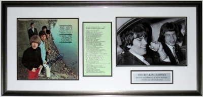Keith Richards & Ron Wood Dual Signed Rolling Stones Big Hits Album - Beckett Authentication Services COA - Professionally Framed & 11x14 Photo, Lyrics, Plate 34x20