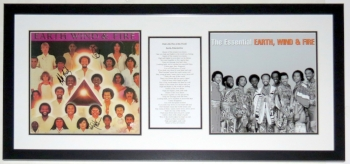 Earth Wind & Fire Group Signed Album Compilation - JSA COA Authenticated - Professionally Framed & Lyrics 34x20