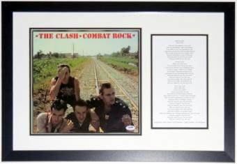 Mick Jones Signed The Clash Combat Rock - PSA DNA COA Authenticated - Custom Framed & Lyrics 30x18
