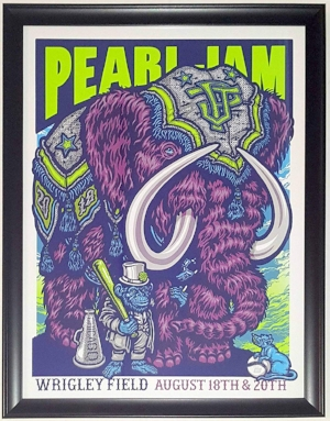 Pearl Jam Wrigley Field Chicago 8/18 & 8/20/2018 Tour Poster by Ames Bros - Professionally Framed