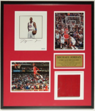 Michael Jordan Signed Career 8x10 Photo Compilation - Upper Deck Authenticated UDA COA - Professionally Framed with Piece of Chicago Stadium Floor 28x30