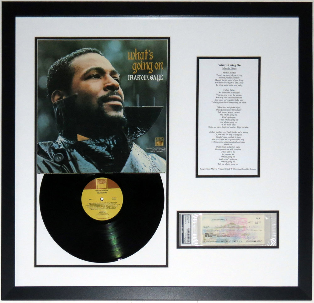 Marvin Gaye Signed What's Going On Album & Lyrics Compilation - PSA DNA COA Authenticated - Professionally Framed 30x30