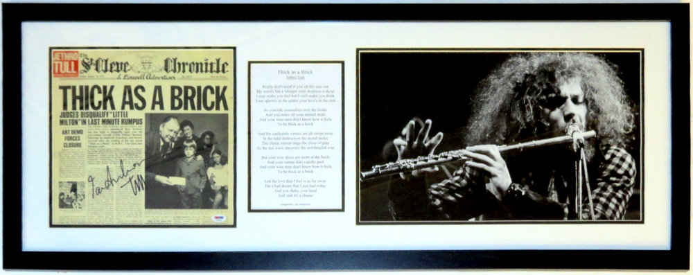 Ian Anderson Autographed Thick As A Brick Jethro Tull Album & Lyrics & Concert Photograph - PSA DNA COA Authenticated - Professionally Framed 40x20