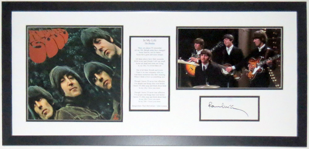 Paul McCartney Signed Beatles Rubber Soul Album Lyrics & Photo Compilation - PSA DNA COA Authenticated - Custom Framed 34x20