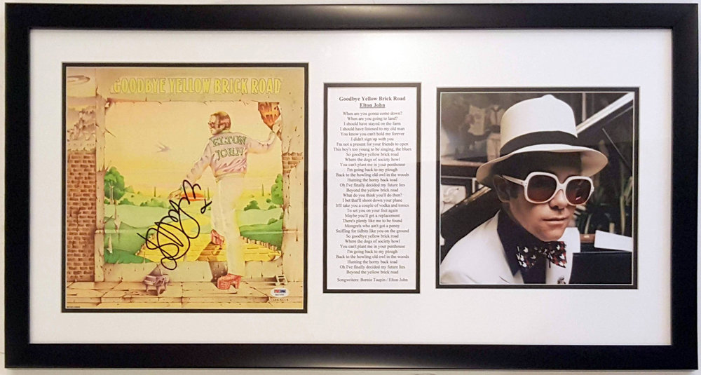 Elton John Signed Yellow Brick Road Album & Lyrics Compilation - PSA DNA COA Authenticated - Professionally Framed 32x20