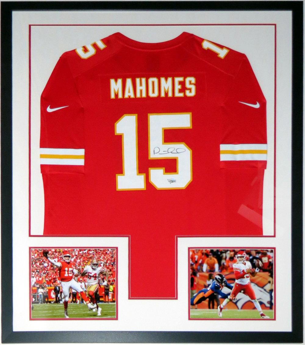 Patrick Mahomes II Signed 2018 Nike Kansas City Chiefs Jersey - Fanatics COA Authenticated - Professionally Framed & 2 8x10 Photo 34x42