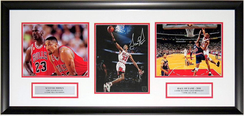 Scottie Pippen Signed Chicago Bulls 8x10 Photo Compilation - Panini COA Authenticated - Professionally Framed & Plate 34x16