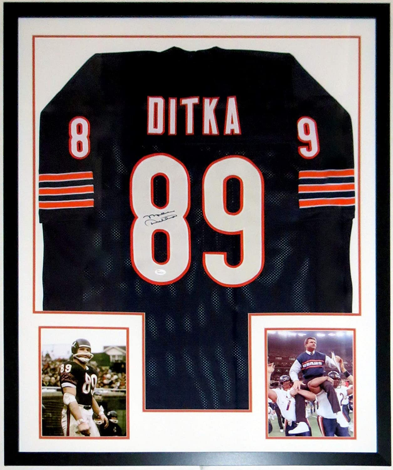 Bleachers Sports Music Framing Mike Ditka Signed Chicago Bears Jersey Jsa Authenticated Coa Professionally Framed 2 8x10
