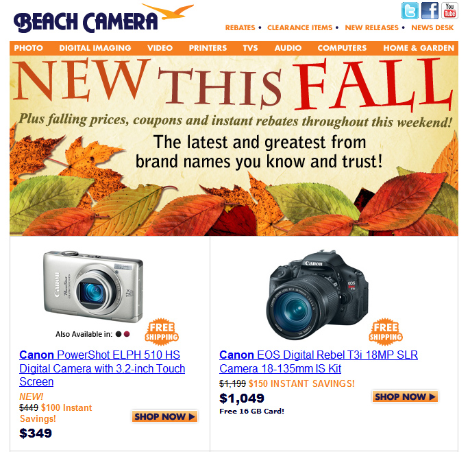 Beach Camera Fall E-mail Blast