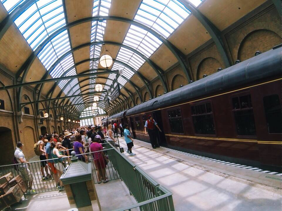 Hogwart's Express in the King's Cross Station in London