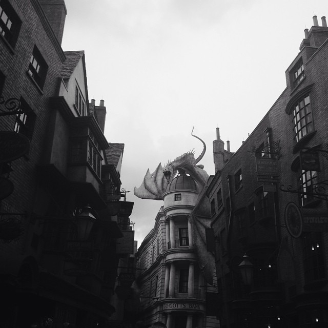 Diagon Alley  (that dragon breathes fire out of it's mouth!)