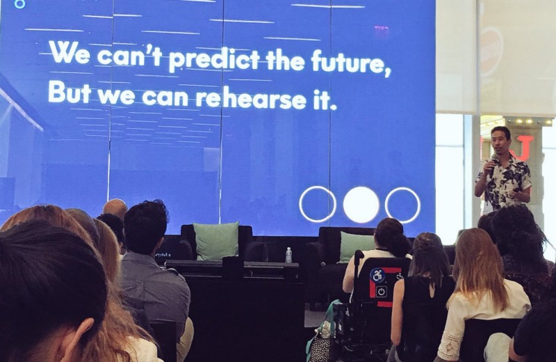 Lee-Sean Huang speaking about how to bring inclusive futures to life at TechInclusion New York at Viacom, August 2017
